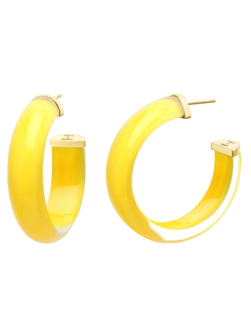 "Gold + Honey 2"" Yellow Illusion Hoop Earrings"