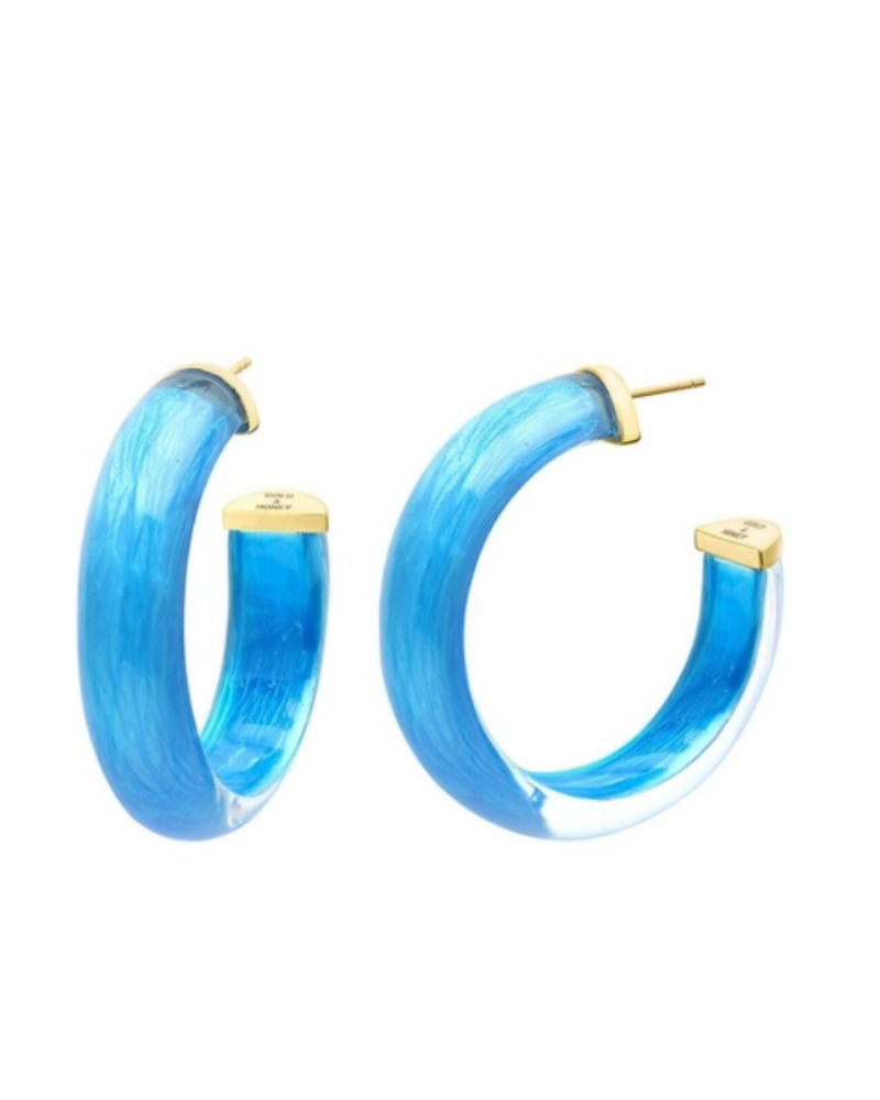 "Gold + Honey 1.5"" Small Lapis Illusion Hoop Earrings"