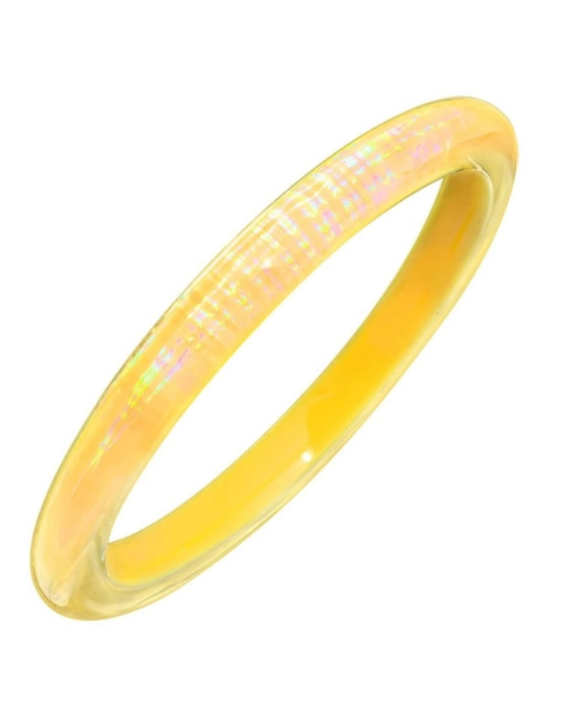 Gold + Honey Yellow Iridescent Slip On Bangle