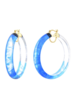 "Gold + Honey 2.5"" Blue Tie Dye Hoop Earrings"