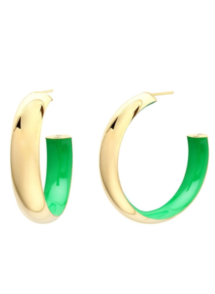 "Gold + Honey 2"" Green Inside Out Hoop Earrings"
