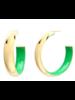 "Gold + Honey 2"" Green Inside Out Hoop Earrings"