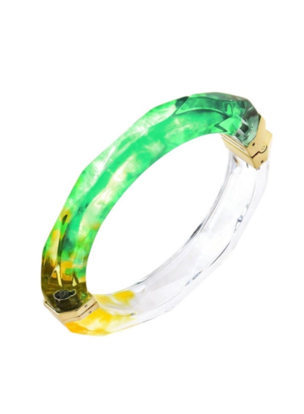 Gold + Honey Green Yellow Faceted Tie Dye Bangle w/Hinge