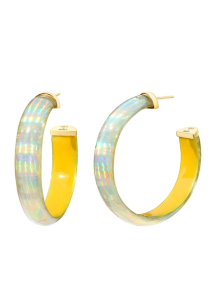 "Gold + Honey 2"" Yellow Iridescent Hoops"