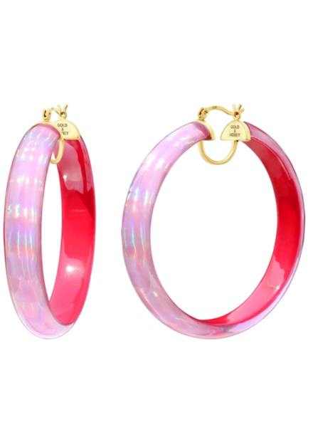 "Gold + Honey 2.5"" Pink Iridescent Hoops"