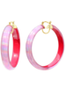 "Gold + Honey 2.5"" Pink Iridescent Hoops"