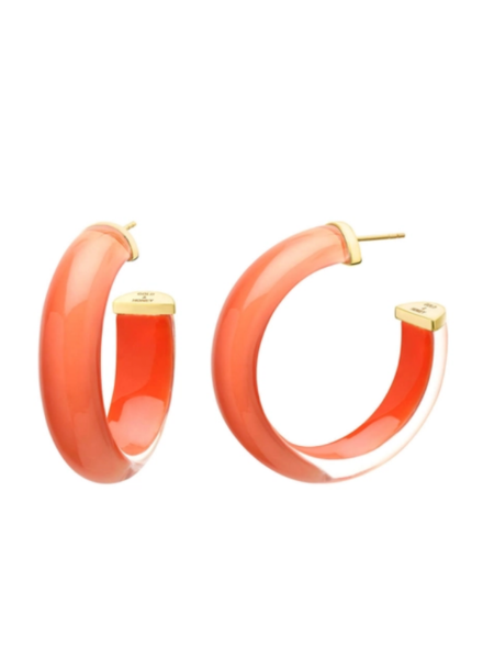 "Gold + Honey 1.5""  Coral Illusion Hoop Earrings"