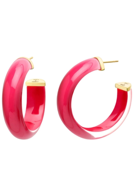 "Gold + Honey 2"" Medium Pink Hoop Illusion Earrings"