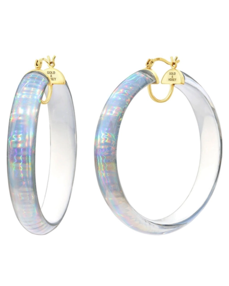 "Gold + Honey 2.5"" White Iridescent Hoops"