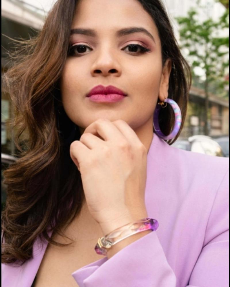 Gold + Honey Purple Pink Tie Dye Bangle w/Hinge