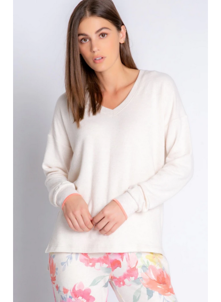 PJ Salvage Blooms Oatmeal L/S Top