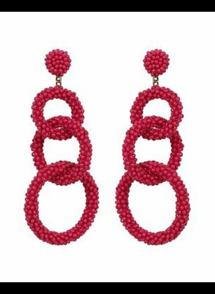 Deepa Gurnani Beaded Fuchsia Dangle Earrings