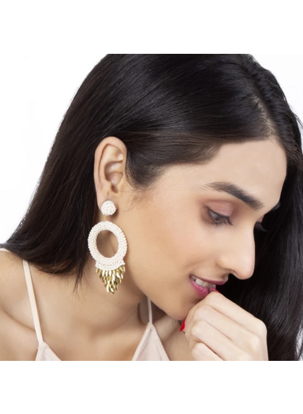 Deepa Gurnani Franka Earrings Ivory