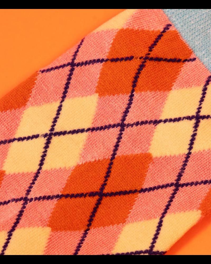 Powder Pink Argyll Sock