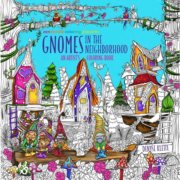Zendoodle Coloring Presents Gnomes in the Neighborhood