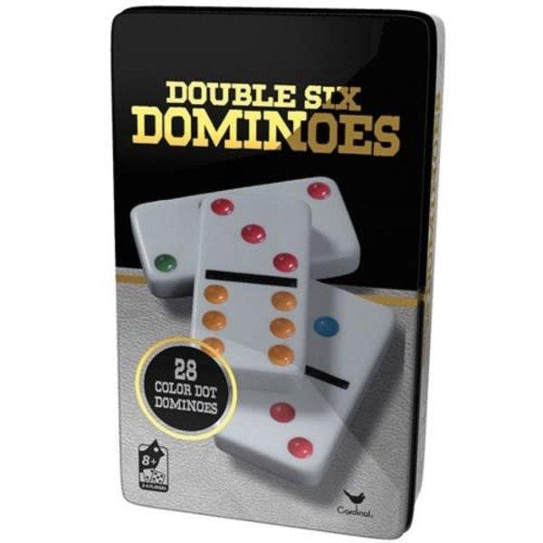 DOUBLE 6 COLOUR DOMINO IN TIN