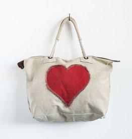 heart cotton canvas