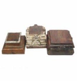 wooden carved pillar base/vintage