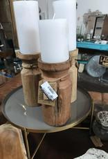 Carved Wood Candle Holder