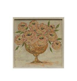 square wood flower art
