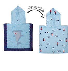 Flap Jacks Reversible Baby Cover-up - Shark 0-12