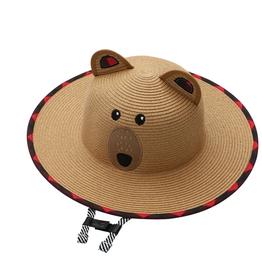 Flap Jacks FlapJackKids - Kids Straw Hat - Bear - Large