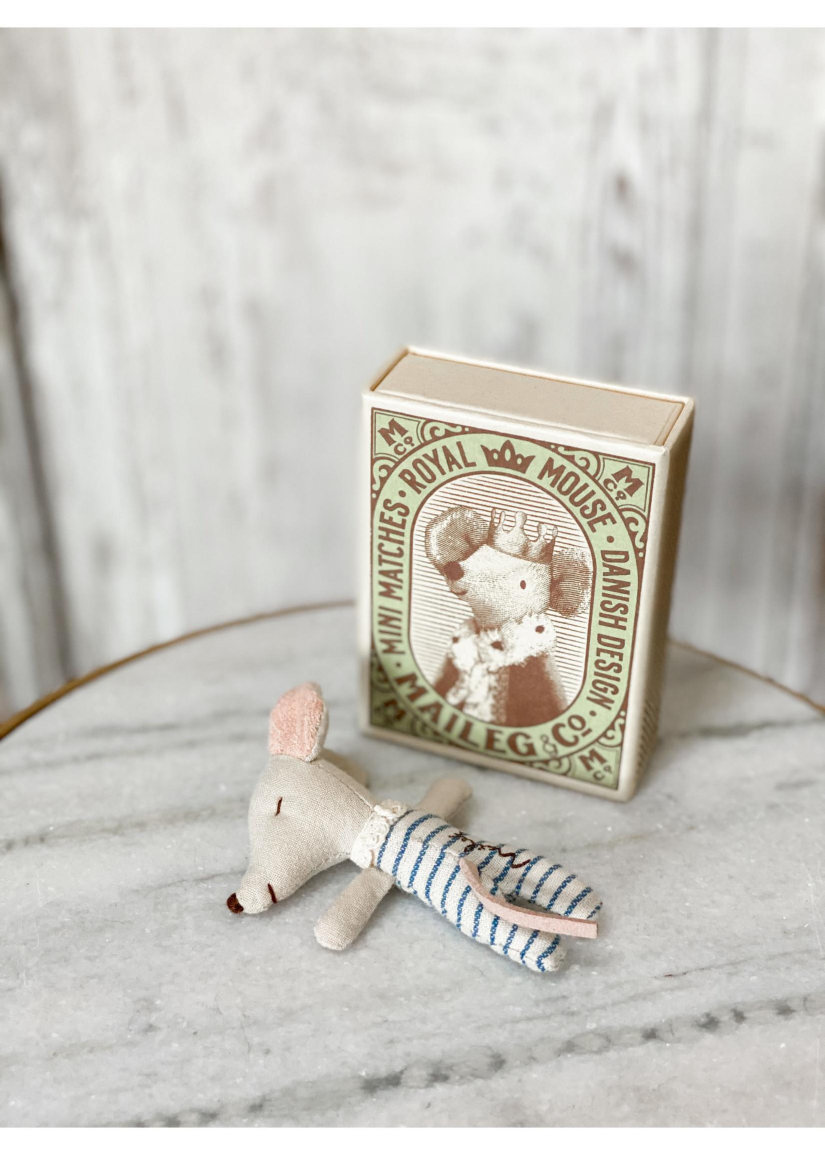 Maileg Baby Boy Mouse - Sleepy Wakey in Matchbox