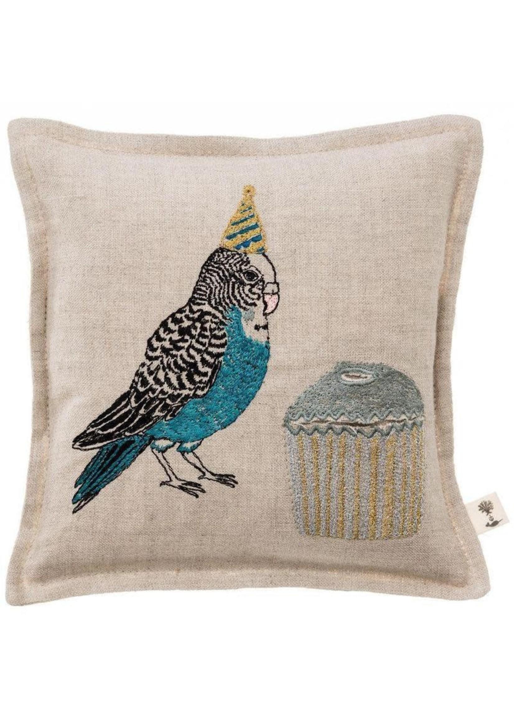 Coral and Tusk Pillow - 7x7 - Birthday Parakeet