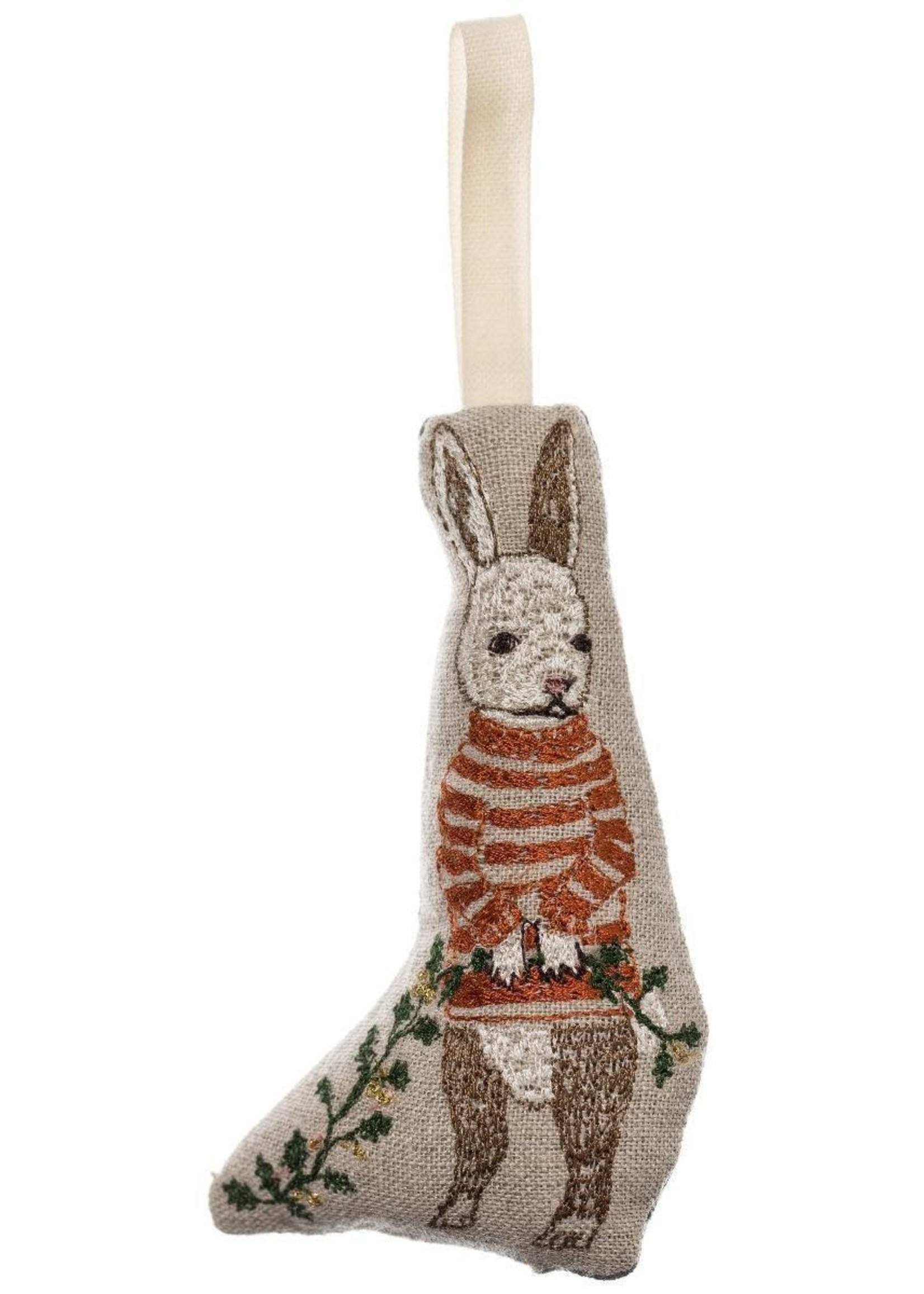Coral and Tusk Ornament - Bunny with Holly