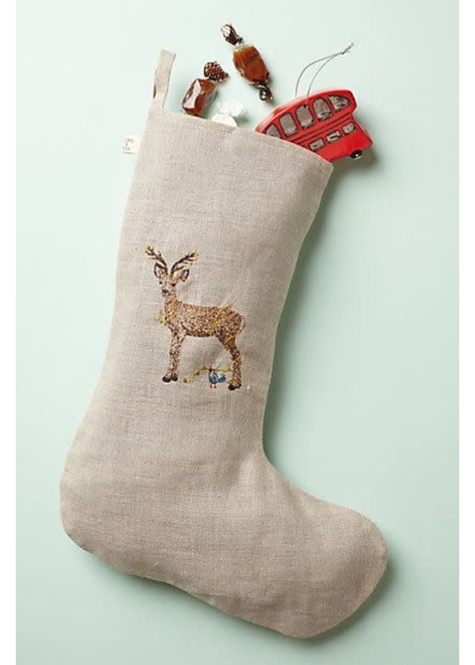 Coral and Tusk Stocking - Deer with Lights - Small