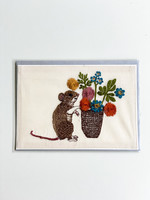 Coral and Tusk Card - Mouse with Flowers
