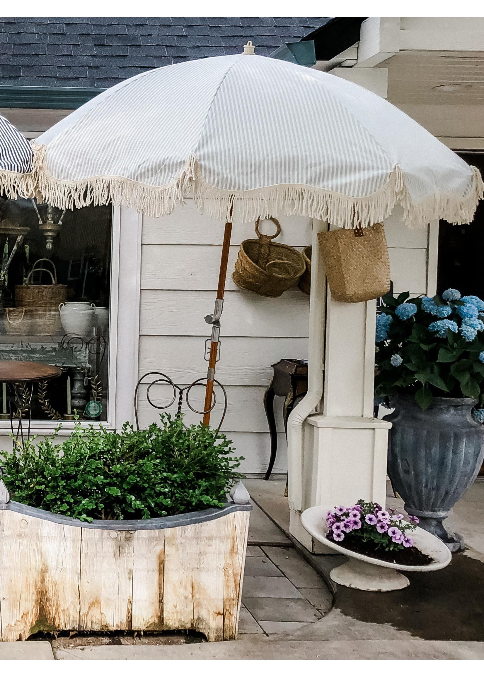 Premium Beach Umbrella - Laurens Sage Stripe