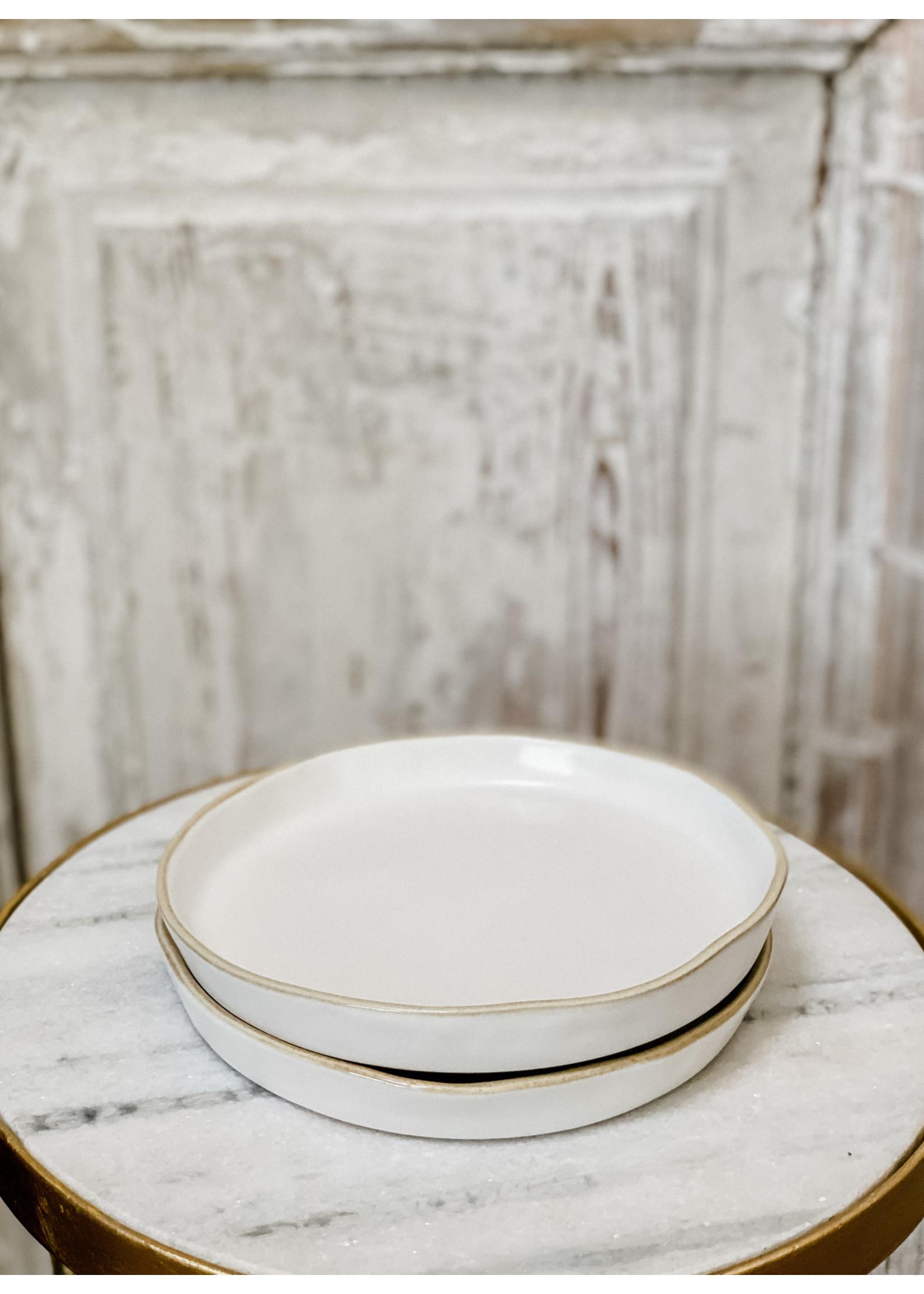 Tan Rim Stoneware Plate - Small