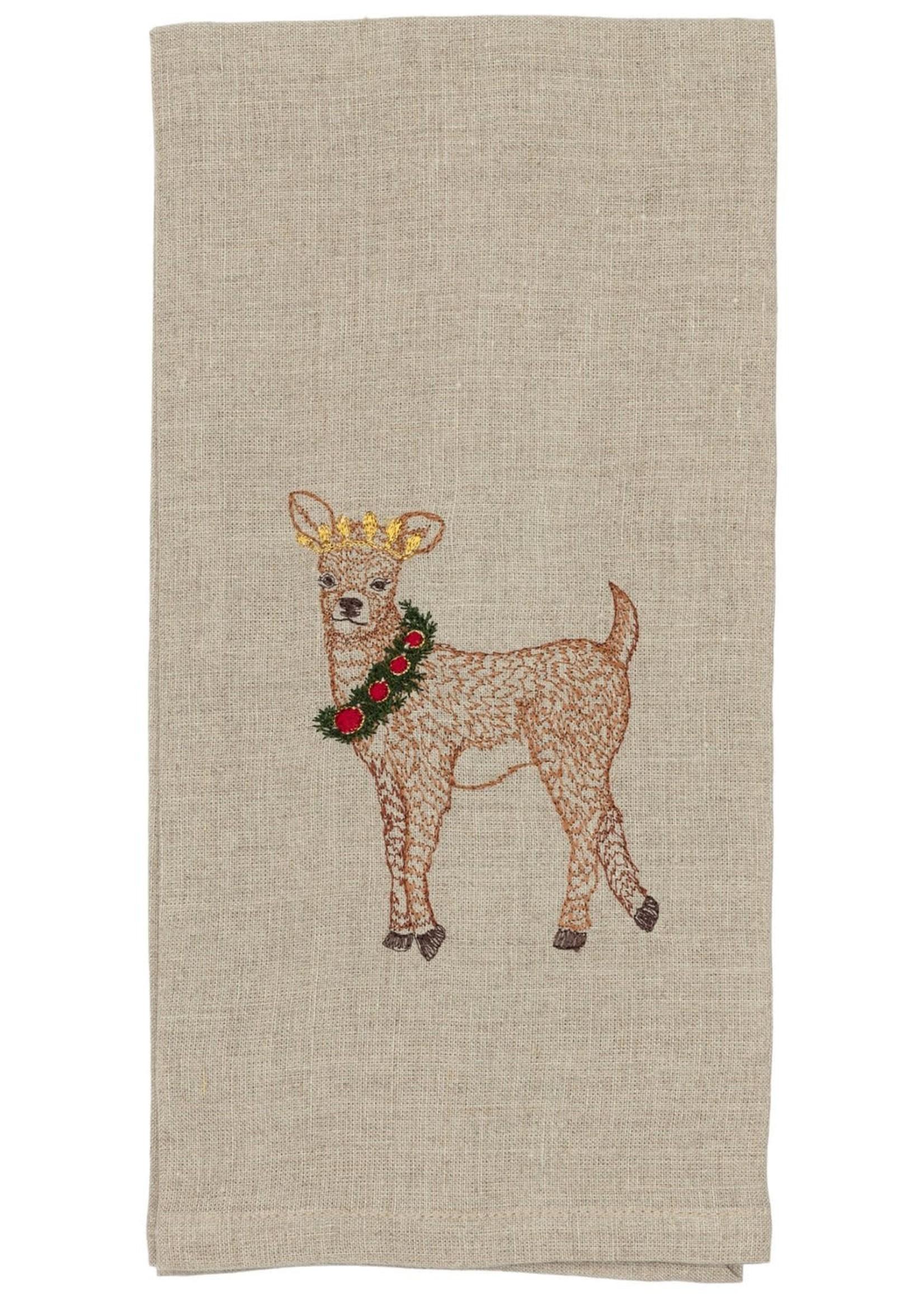 Coral and Tusk Tea Towel - Deer with Christmas Wreath