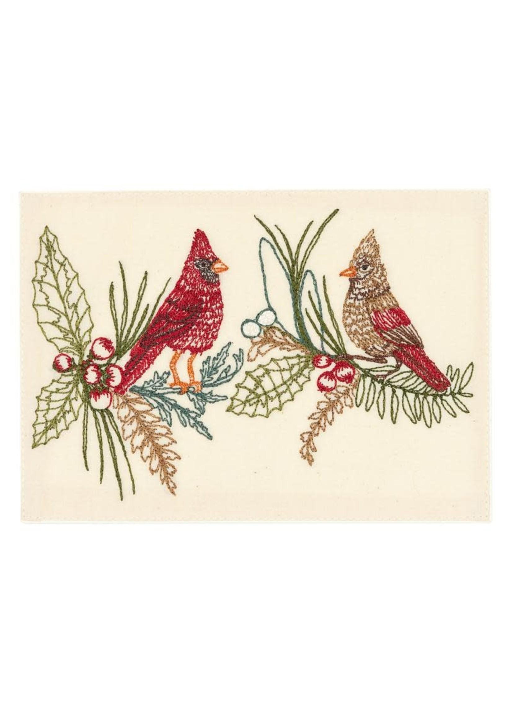 Coral and Tusk Card - Christmas Cardinals