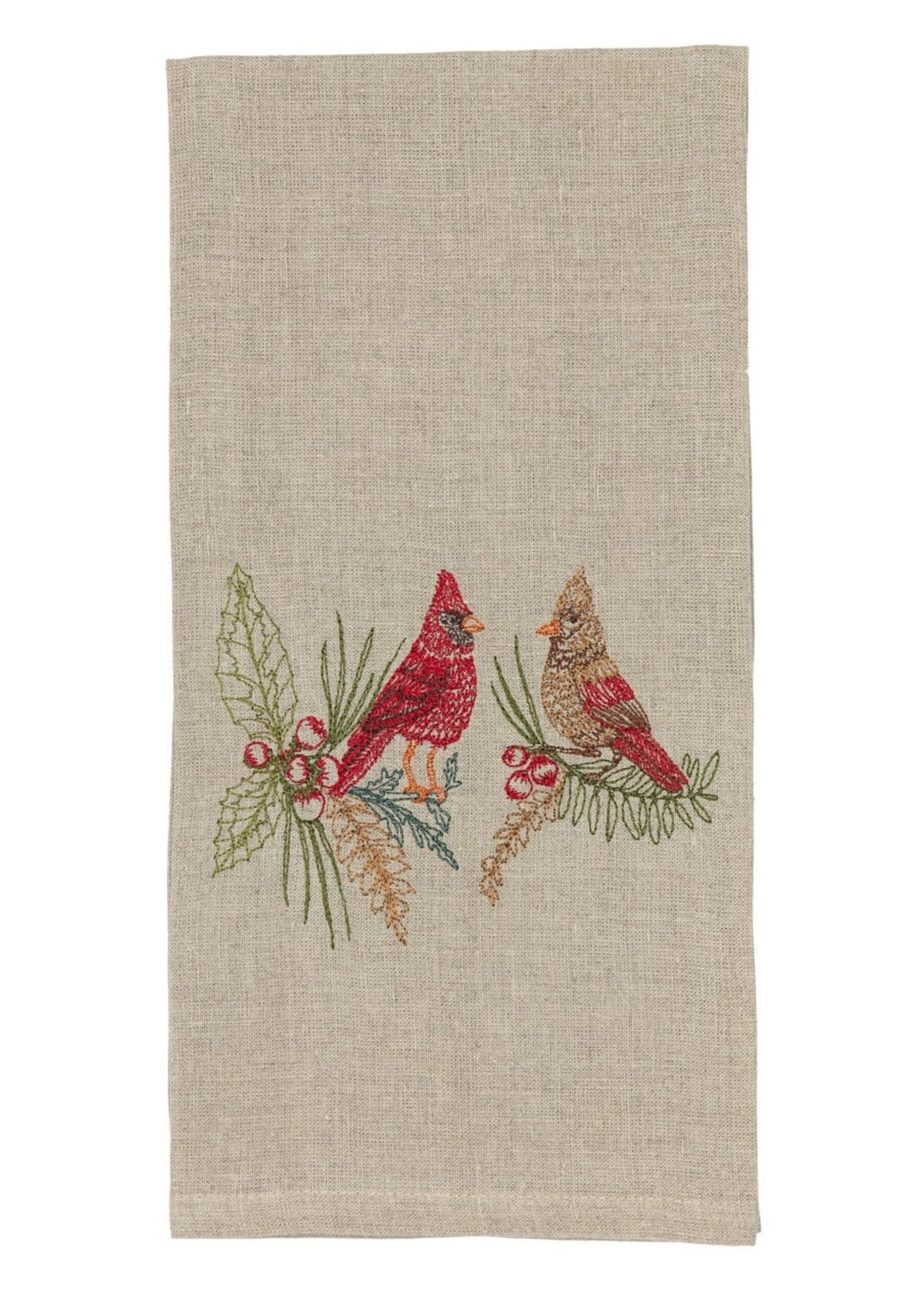 Coral and Tusk Towel - Christmas Cardinals