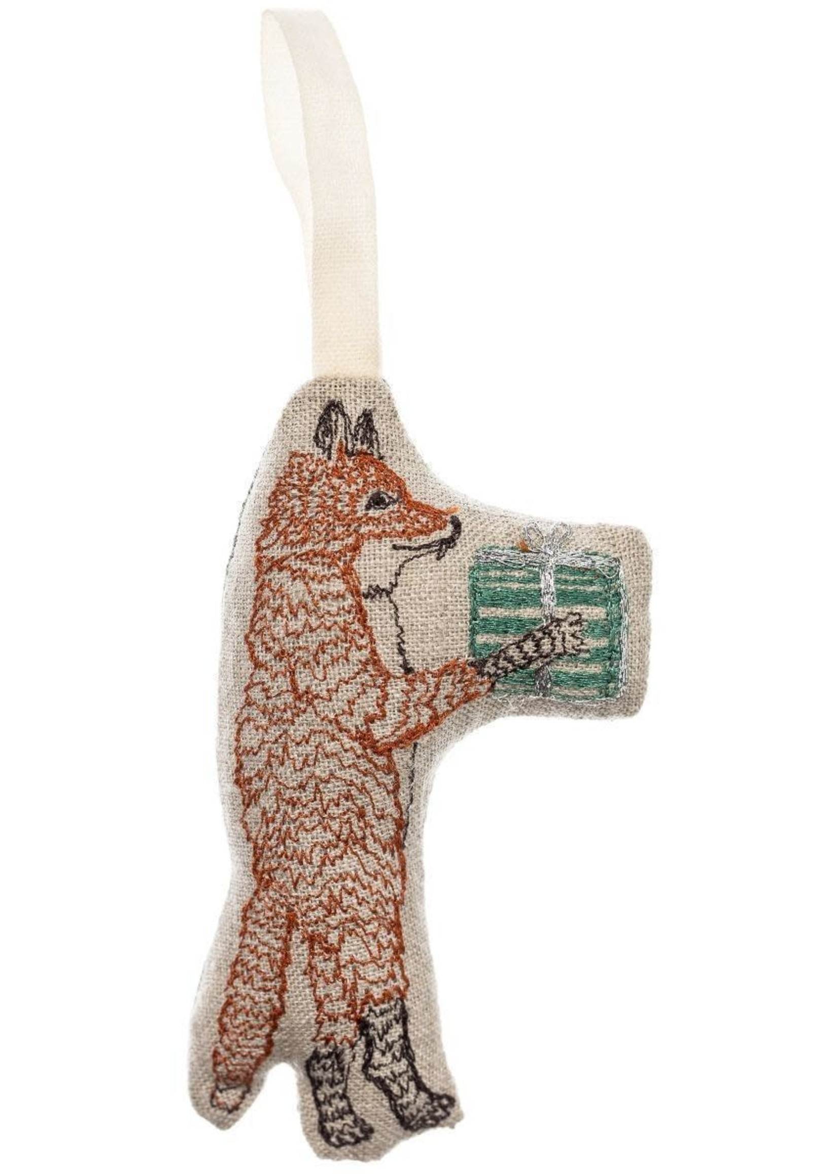 Coral and Tusk Ornament - Fox with Present
