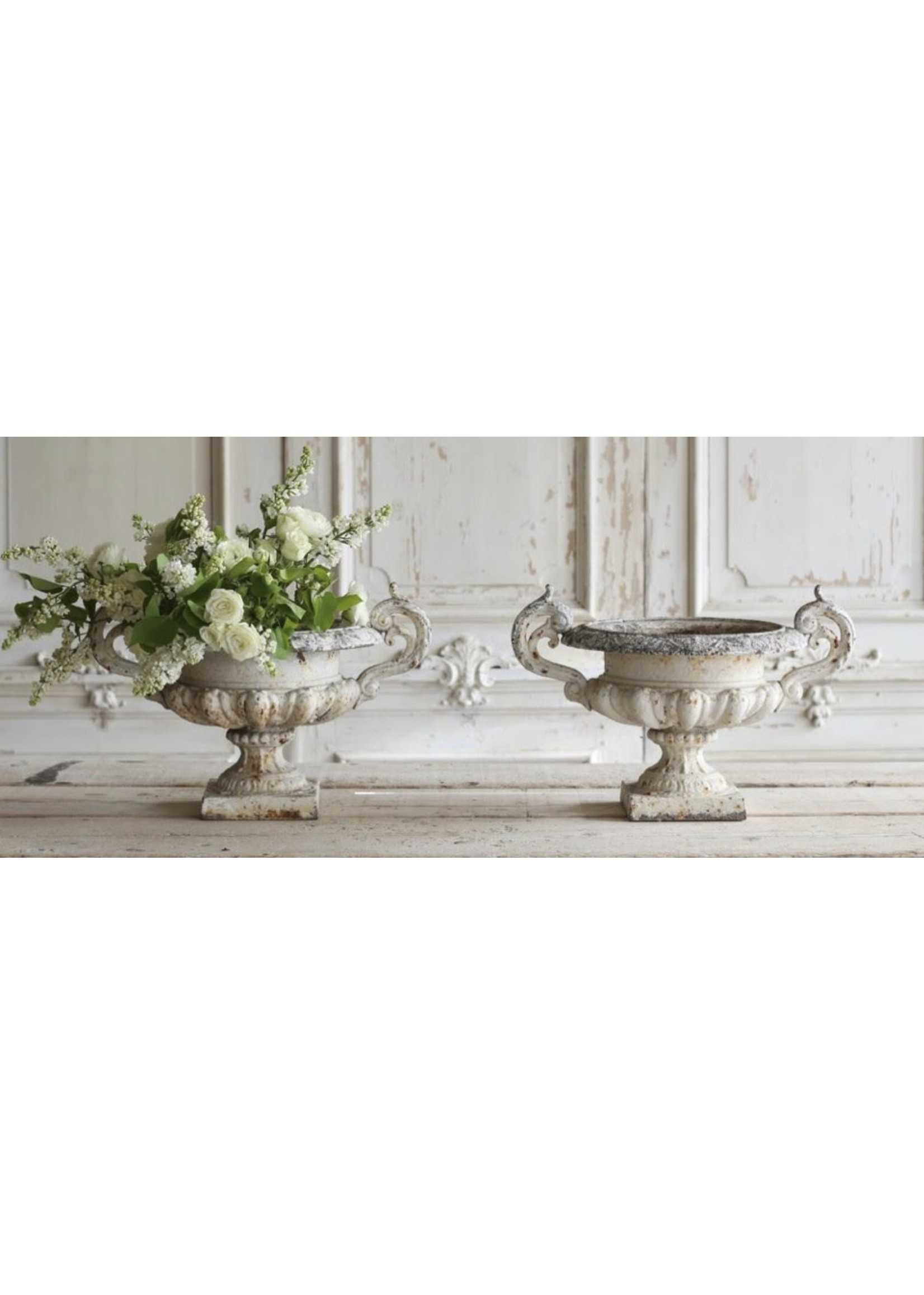 Antique French Cast Iron Urns
