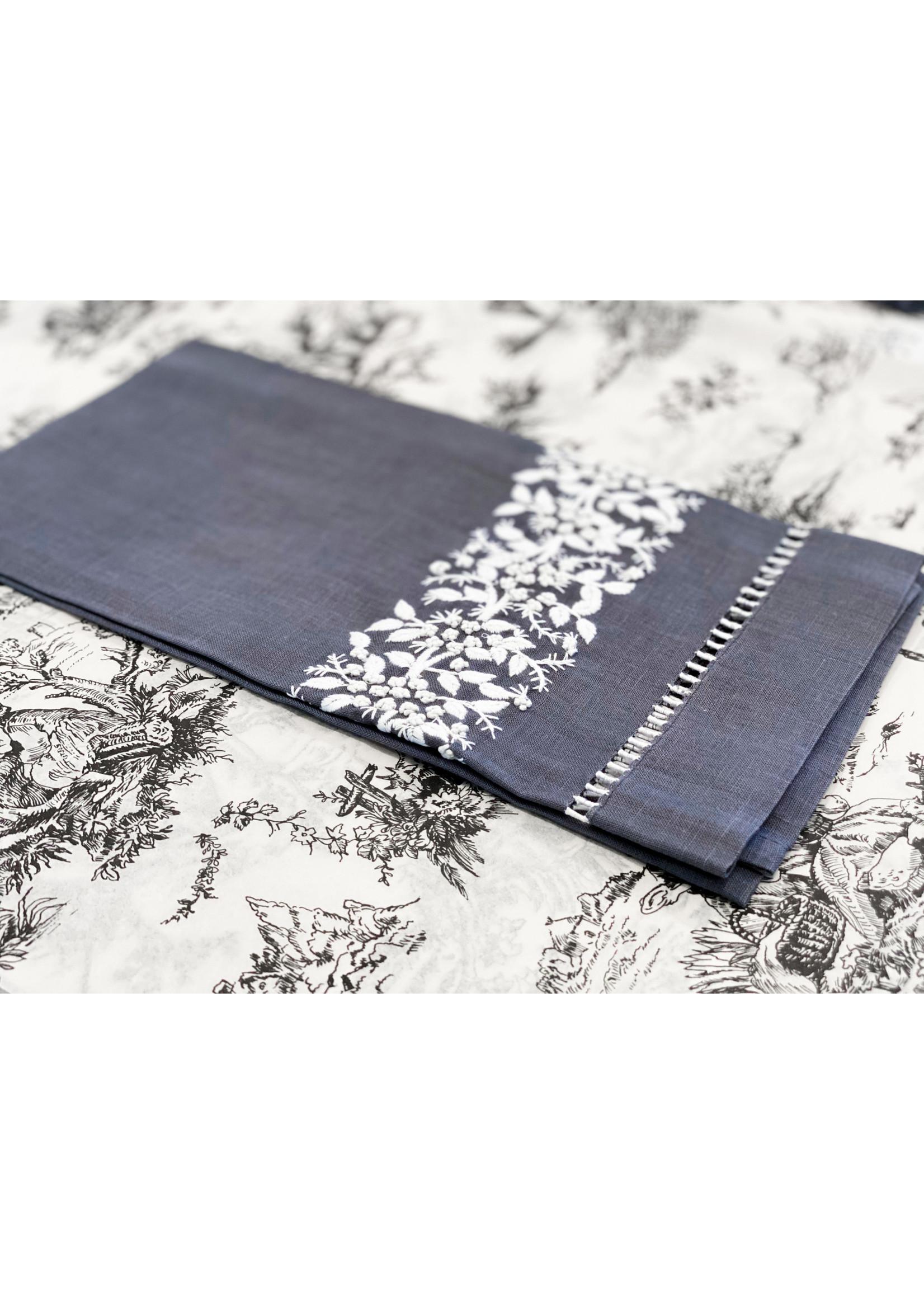 Henry Handwork Towel - Jardin Estate Charcoal
