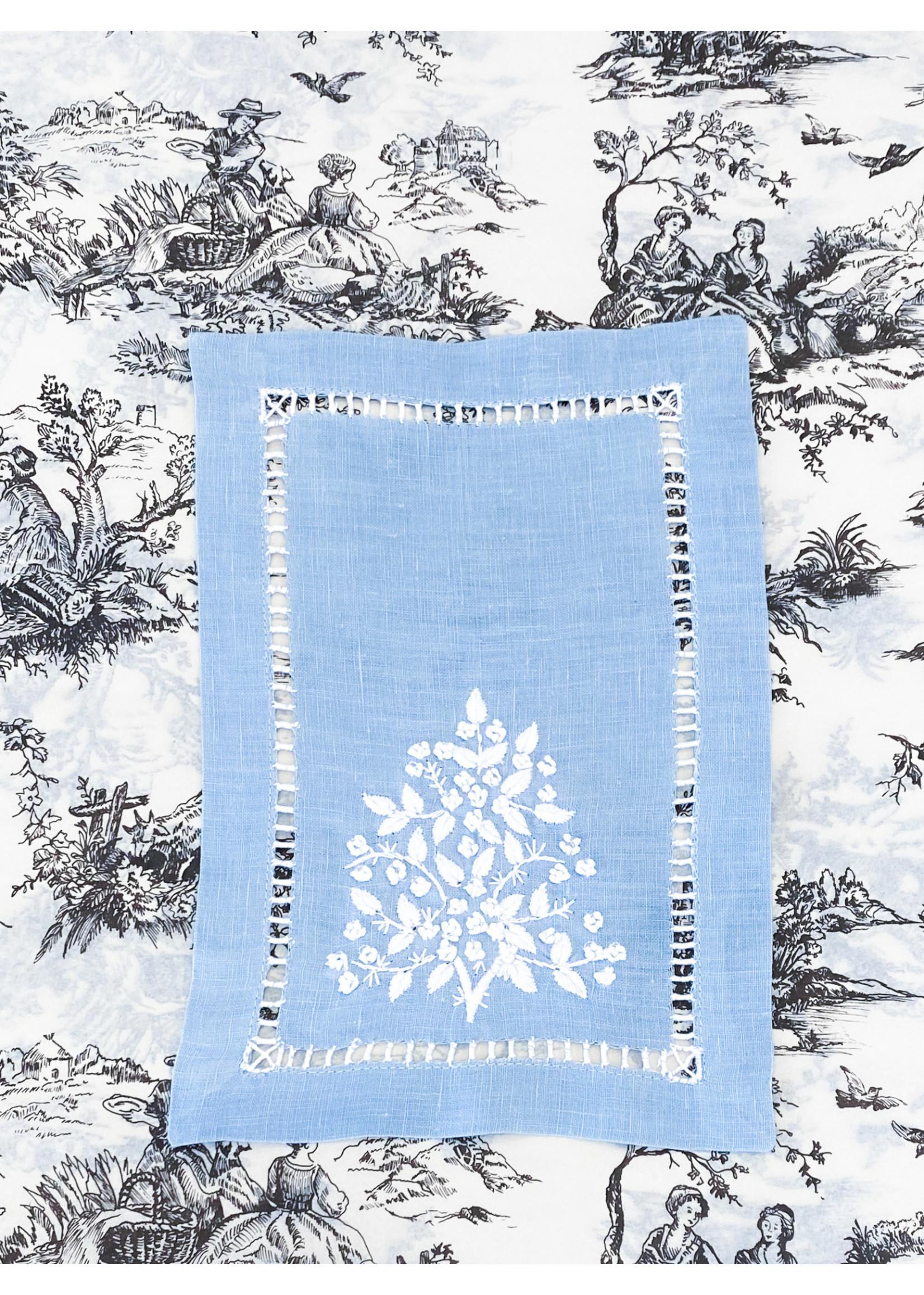 Henry Handwork Cocktail Napkin Set - Jardin Estate Blue (set of 4)
