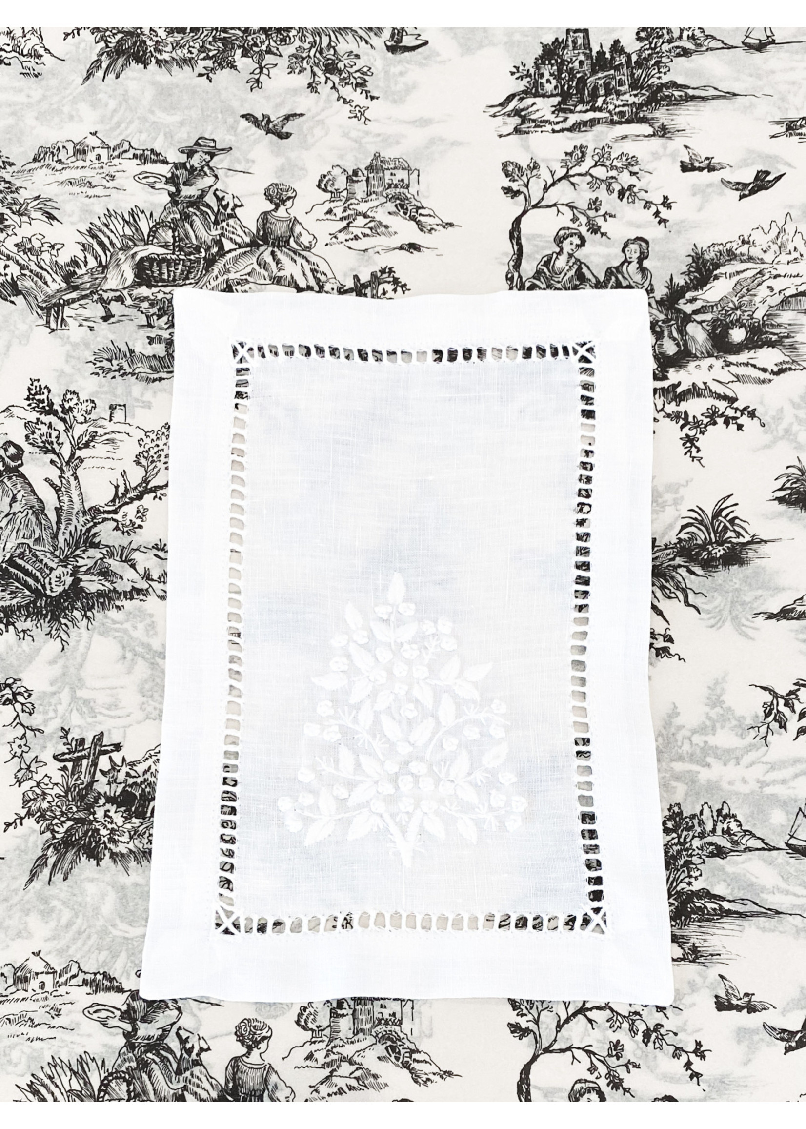 Henry Handwork Cocktail Napkin - Jardin Estate White (set of 4)