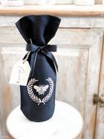 Crown Linen Wine Bag - Bumble Bee - Black