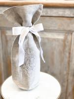 Crown Linen Wine Bag - Royal - Flax