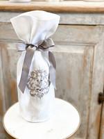 Crown Linen Wine Bag - Damask - White