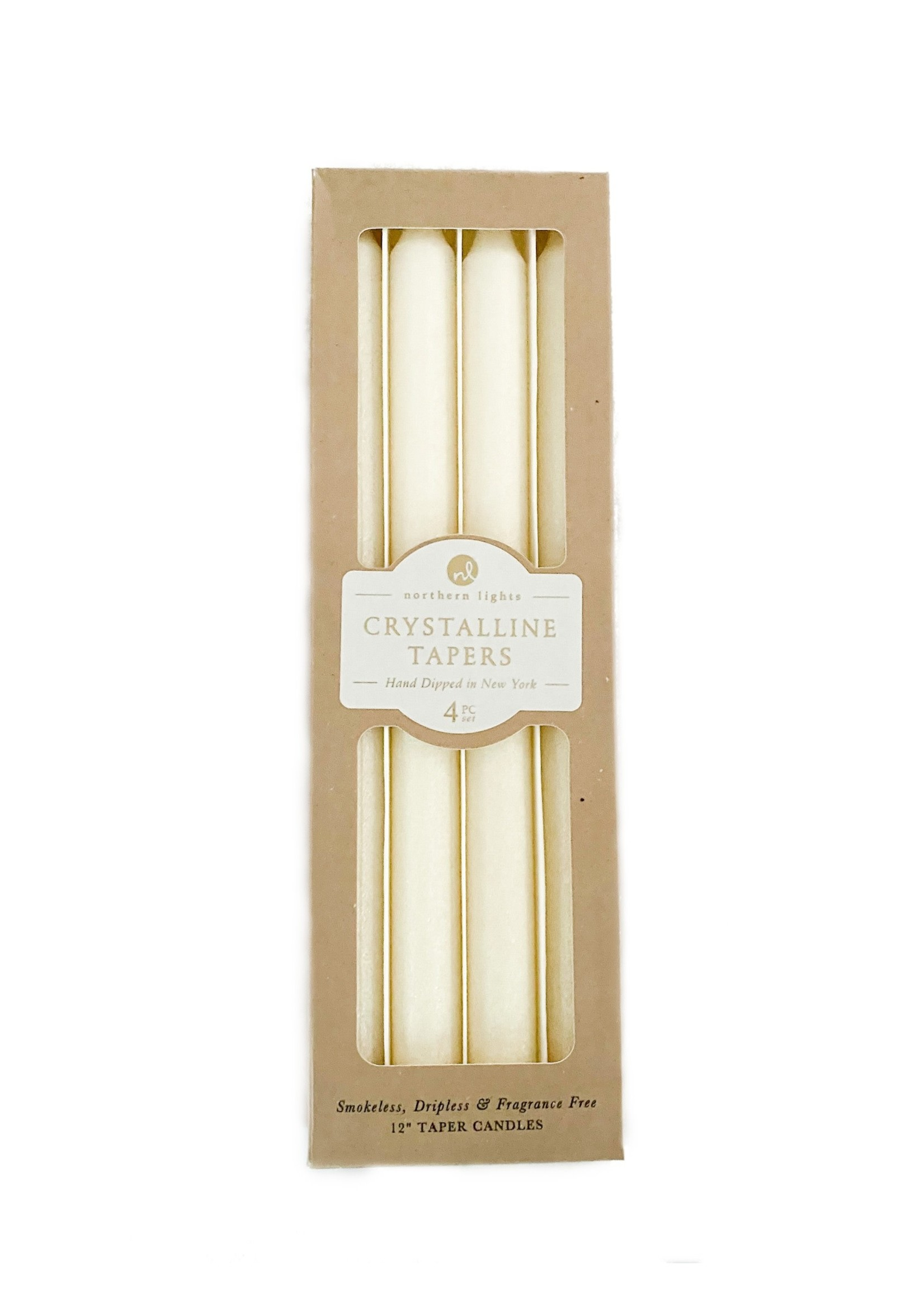 """Taper Candle Crystalline 12"""" (pack of 4) Pearl"""