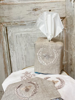 Crown Linen Tissue Box Cover - Bumble Bee - Flax