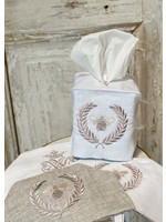 Crown Linen Tissue Box Cover - Bumble Bee - White