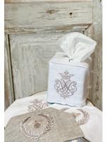 Crown Linen Tissue Box Cover - Crest - White