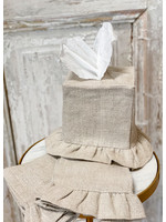 Crown Linen Tissue Box Cover - Tumbled Linen - Natural