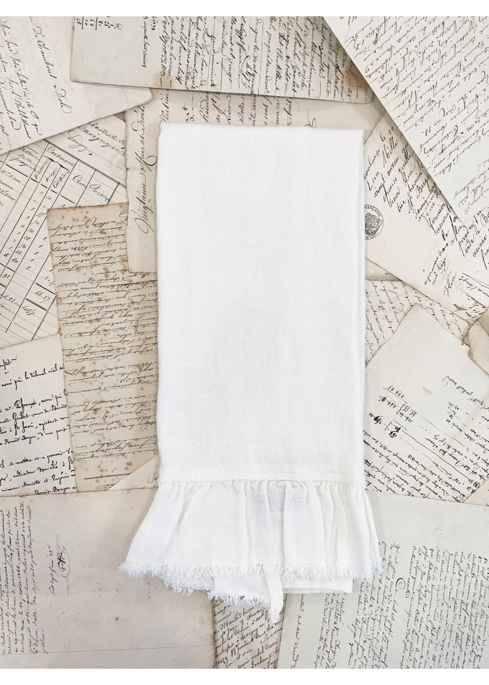 Crown Linen Towel - Provence - White